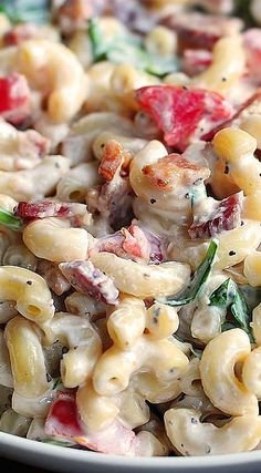 BLT Macaroni Salad- fabulous and a big hit at the last pot luck we went to.