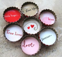 Bottle cap love notes ❤ love it for the modern poetic simplicity and because the two little hearts are at the center. Bottle Cap Magnets, Bottle Cap Art, Bottle Cap Crafts, Bottle Top, My Funny Valentine, Valentine Day Crafts, Happy Valentines Day, Valentine Ideas, Saint Valentine