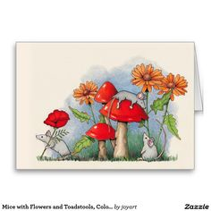 Mice with Flowers and Toadstools, Color Pencil