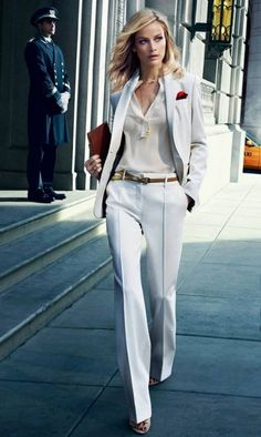 All white suits are a sure thing in the sunny Cannes. They have a crisp, clean air to them for professional or party ocassions. Match with cream blouse or be bold with a bright color. | Cannes Film Festival 2018: The Street Styles