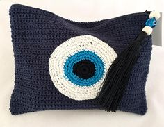 Evil Eye Crochet Small Pouch with Zipper and Beaded Tassel