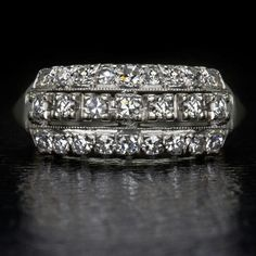 three rows of diamonds ring