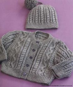 Baby Knitting Patterns Free pattern for baby cardigan and cable hat. Baby Sweater Patterns, Knit Baby Sweaters, Knitted Baby Clothes, Baby Patterns, Baby Knits, Aran Knitting Patterns, Cable Knitting, Free Knitting, Knit Patterns