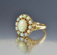 Victorian Opal Ring, Australian   10K Gold Antique Opal Cluster Ring, Antique Jewelry, Edwardian