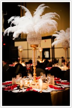 Old Hollywood inspired centerpiece.