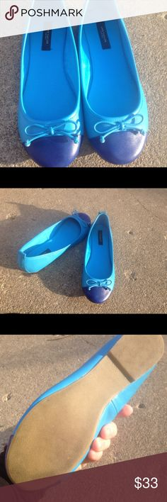 Women's Ann Taylor Leather Cap Toe Blue Flats 8M Women's Ann Taylor Leather Cap Toe Blue Flats 8M EUC Ann Taylor Shoes Flats & Loafers