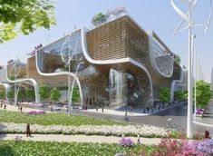 "Image 7 of 16 from gallery of Vincent Callebaut Proposes ""Wooden Orchids"" Green Shopping Center for China. Photograph by Vincent Callebaut Architectures Green Architecture, Concept Architecture, Futuristic Architecture, Amazing Architecture, Architecture Design, Museum Architecture, Building Facade, Green Building, Building Plans"