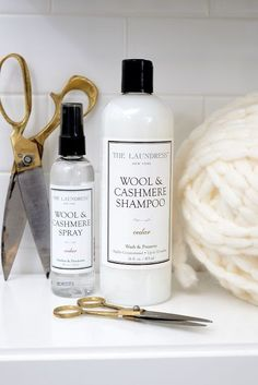 Be sure to wash your woolies, cashmeres, and angoras with The Laundress Wool & Cashmere Shampoo along with a spritz of the Wool & Cashmere Spray before storing for the summer. This is very important, and will ensure that your sweaters are taken care of until next fall!