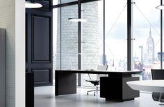 Multipli CEO black executive desk with black under desk storage.
