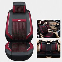 Front Rear PU Leather Car Seat Cover Cushion For All 5 Black