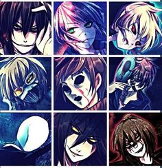 Jeff The Killer,  Homicidal Liu, Ben Drowned, Ticci Toby, Masky, Eyeless Jack, Slenderman, The Puppeteer, and Laughing Jack