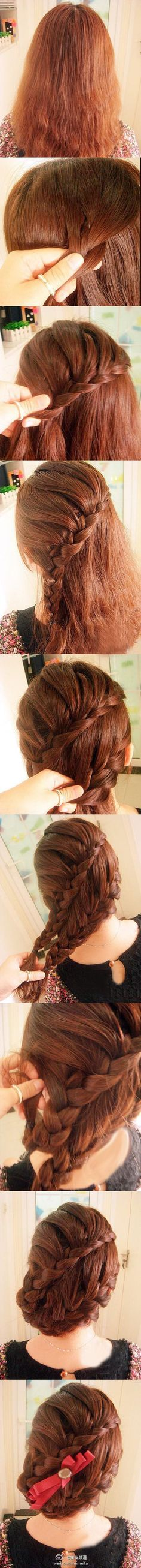 Braided Updo Tutorial >> I would have just kept it at the two braids coming into one finishing braid but cool idea! Popular Hairstyles, Pretty Hairstyles, Wedding Hairstyles, Gray Hairstyles, Saree Hairstyles, Messy Hairstyles, Nappy Hairstyle, Updo Tutorial, Corte Y Color