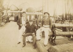 handsome crew members on the main deck of Cutty Sark