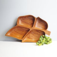 Vintage 1970s monkey pod serving tray - carved wooden leaf with four sections - retro cocktail hour - vintage display piece