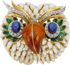 Diamond, Enamel, and Gold Owl Brooch