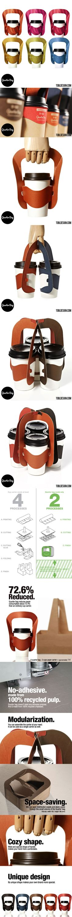 Quarter Bag  --Packaging of the World--    Fantastically designed new coffee cup holder concept. Now carrying 3 coffee cups at once won't suck and feel really unsteady in the holder. Looks gorgeous as well.
