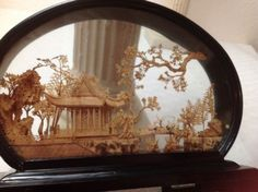 Vintage-Asian-Oriental-Chinese-Lacquer-Diorama-Cork-Carving-Art-Sculpture-Lovely