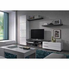 ADHARA Meuble TV + 2 étagères murales mélaminés blancs brillants et gris cendré - L 240 cm