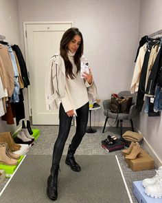 Fashion blogger mia mia mine wearing leather leggings and combat boots with a white leather jacket for fall. #combatboots #outfits #womensfashion New York Fashion Week 2017, Leather Jacket Outfits, Black Combat Boots, Athleisure Outfits, Loungewear Set, Instagram Outfits, Nordstrom Anniversary Sale, Faux Leather Leggings, Outfit Combinations