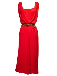 A goddess-y draped dress in a devilishly sexy hue. Love 21 by Forever 21 dress, $27.80; forever21.com.