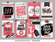 Set of social media sale website and mobile banner templates. Vector  banners, posters, flyers, email, newsletter, ads, promotional material. Typography discount card design.