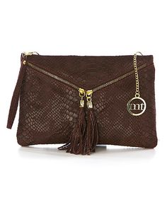 Loving this Bordeaux Python-Embossed Leather Wristlet on #zulily! #zulilyfinds