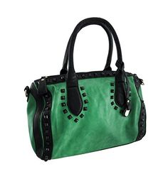 Green Doctor Style Handbag with Black Trim and Studs >>> More info could be found at the image url.