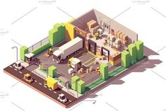 Buy Vector Isometric Low Poly Warehouse Cross-Section by on GraphicRiver. Vector isometric low poly warehouse cross-section. Includes trucks, crates and pallets, loading docks, building inter. Warehouse Project, Craft Museum, Creative Flyer Design, Creative Resume, Cross Section, Crafts For Seniors, Senior Crafts, Cctv Security Cameras, Art For Sale Online