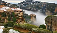 The Meteora tour starts from Kalambaka a town in the shadow of Meteora as if it has roots in those rocks. You will see the spectacular rocks of Meteora which house very old Byzantine monasteries Strange Places, Winter Hiking, Parthenon, Mountain Hiking, Athens Greece, In Ancient Times, Best Sites, Adventure Is Out There, Greece Travel