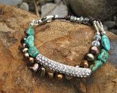 Chocolate Pearls - Rhinestone Bar - Turquoise and Leather Multi Media Bracelet