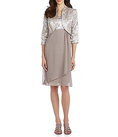 b5fc7a70234 Le Bos Textured Bolero Jacket Dress  Dillards Metallic Cocktail Dresses