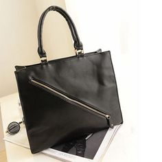 Women Handbag Black Zipper Shoulder Bag Handbags