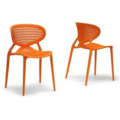 Baxton Studio Neo Orange Plastic Modern Dining Chairs (Set of 2) | Overstock.com Shopping - The Best Deals on Dining Chairs