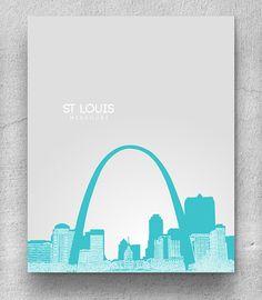 St Louis Missouri Skyline / Home, Office, Nursery Art Poster / Any City or Landmark
