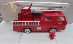 TONKA SNORKEL FIRE TRUCK  TOY PRESSED STEEL VINTAGE 60'S OR 70'S #Tonka