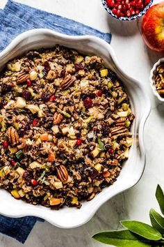 Learn how to make the best wild rice stuffing for turkey or chicken. Flavored w/ apples & cranberries this wild rice dressing is gluten free. #wildricestuffing #turkeystuffing #glutenfreestuffing #wildrice #wildricedressing #foolproofliving Turkey Stuffing Recipes, Gluten Free Stuffing, Rice Stuffing, Thanksgiving Side Dishes, Thanksgiving Recipes, Thanksgiving Holiday, Healthy Side Dishes, Side Dish Recipes, Wild Rice Blend Recipe