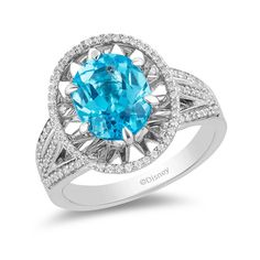 Enchanted Disney Aladdin Oval Swiss Blue Topaz and CT. Diamond Frame Split Shank Ring in Sterling Silver Blue Topaz Stone, Diamond Stone, Disney Engagement Rings, Enchanted Disney Fine Jewelry, Disney Jewelry, Disney Rings, Sea Glass Jewelry, Aladdin, Fashion Rings