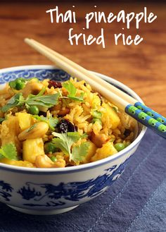 Thai pineapple fried rice; this sounds delicious! {vegetarian} {http://www.theperfectpantry.com/}