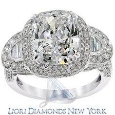 6.09 Carat D-SI1 Cushion Cut Natural Diamond Engagement Ring 14K Vintage Style - Side-stone Engagement Rings - Engagement - Lioridiamonds.com