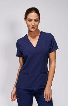 women's casma three-pocket scrub top - navy – 100% Awesome Medical Apparel