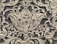 Cravat (detail), late 19th century, probably Austrian; linen, needle lace; 7 x 29 in. Collection the Met, NYC.