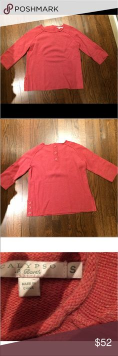 Calypso St. Barth's pink cashmere sweater Never been worn; 3/4 sleeves; light/bright pink cashmere sweater with scoop neck and buttons on the shoulders and sleeves Calypso St. Barth Sweaters Crew & Scoop Necks