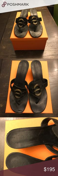 """Hermes Sandals Thong sandal. Tortoise buckle decoration. My buck leather upper, leather soles. 2"""" heel. Heels and soles were recently replaced. Pics 2-8 show some scuffs, pic 7 shows small flaw in heel, shoe repair can spruce up these shoes 👠 Hermes Shoes Sandals"""