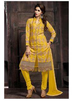 Yellow Cotton Chiffon ReadyMade Salwar Kameez