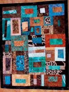 Many brown and aqua blue specialty batik fabrics collage in artist's Free Style Cobblestone technique to create this unique masculine ...