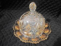EAPG U.S. Glass Shoshone Pattern Covered Domed Butter Dish Gold