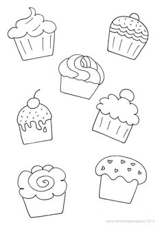 Scheda da colorare con disegni di cupcakes, da stampare gratuitamente. Cupcakes coloring page.