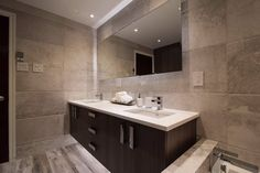 Large rectangular bathroom mirror.
