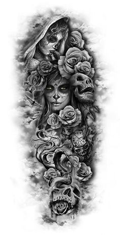 totenkopf mit rosen tattoo - junge frauen und graue totenköpfe und viele große graue rosen dragon tattoo tattoo tattoo designs tattoo for men tattoo for women tattoo tattoo tattoo tattoo tattoo tattoo tattoo tattoo ideas big dragon tattoo tattoo ideas Custom Temporary Tattoos, Custom Tattoo, Temporary Tattoo Sleeves, Full Sleeve Tattoos, Tattoo Sleeve Designs, Day Of The Dead Tattoo Sleeve, Full Leg Tattoos, Half Sleeve Tattoos For Guys, Day Of The Dead Tattoo For Men