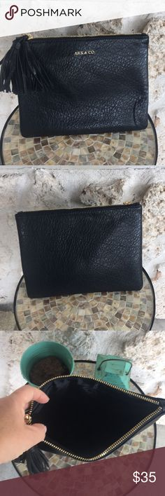 🆕Ark & Co. black large Leather Bag ✅I ship same or next day ✅Bundle for discount Ark & Co Bags Clutches & Wristlets